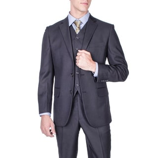 Men's Modern Fit Black Textured 2-button Vested Suit