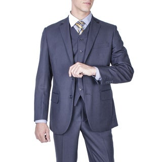 Men's Modern Fit Navy Blue Textured 2-button Vested Suit