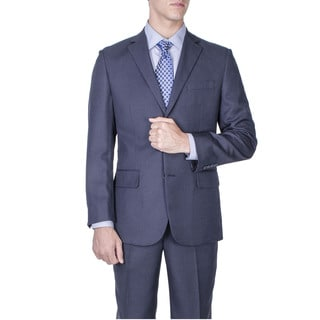 Men's Modern Fit Navy Blue Textured 2-button Suit