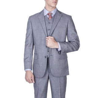 Men's Modern Fit Grey Salt and Pepper 2-button Vested Suit