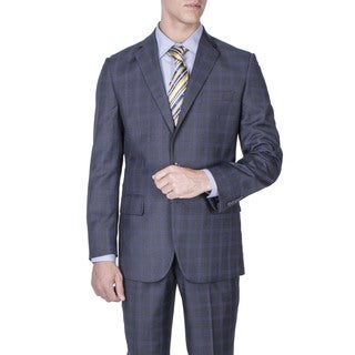 Men's Modern Fit Charcoal Grey Windowpane 2-button Suit