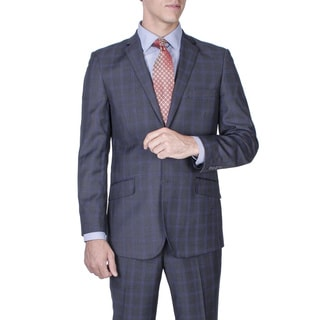 Men's Slim Fit Charcoal Grey Windowpane 2-button Suit