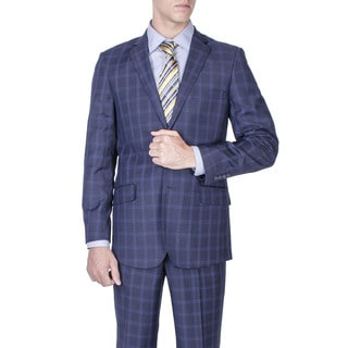 Men's Slim Fit Navy Blue Windowpane 2-button Suit