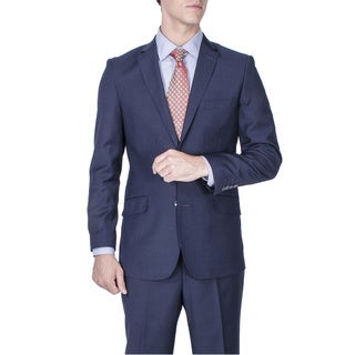 Men's Navy Blue Tonal 2-button Slim Fit Suit