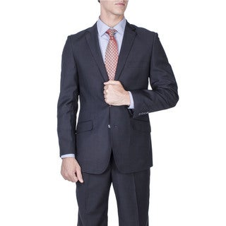 Men's Black Tonal 2-button Slim Fit Suit