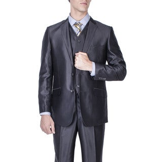 Men's Black Shiny 2-button Slim-fit Vested Suit