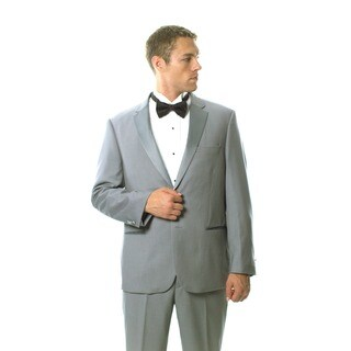 Caravelli Men's Light Grey Satin-detailed Tuxedo
