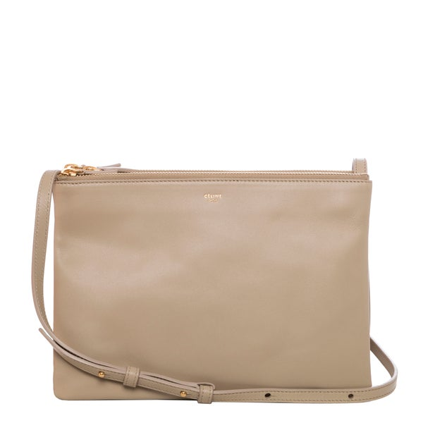 Celine Large \u0026#39;Trio\u0026#39; Beige Leather Crossbody Bag - 16251423 ...