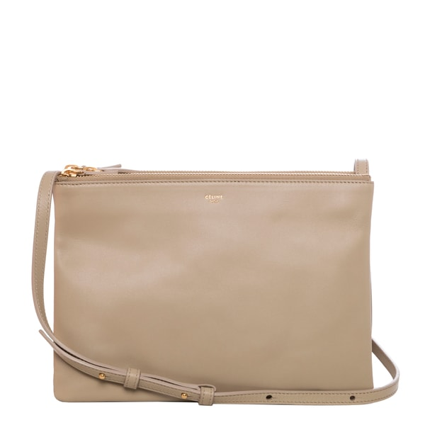 celine beige leather clutch bag trio