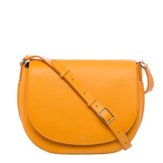 Celine 'Trotteur' Saffron Grained Leather Shoulder Bag