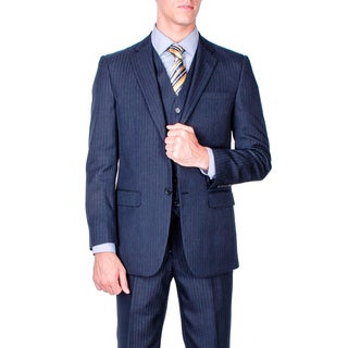 Men's Navy Blue Stripe 2-button Vested Modern-fit Suit