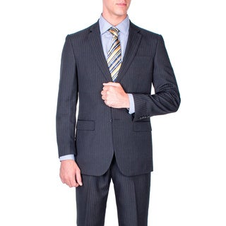 Men's Black Stripe 2-button Modern-fit Suit