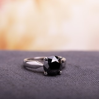 Miadora 10k White Gold 3ct TDW Black Diamond Solitaire Ring