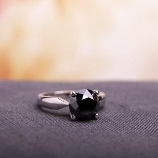 Miadora 10k White Gold 3ct TDW Black Diamond Solitaire Ring
