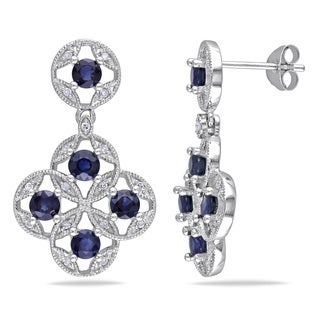 Miadora Sterling Silver Sapphire and 1/6ct TDW Diamond Earrings (H-I, I2-I3)