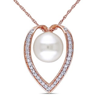 Miadora 10k Rose Gold Cultured Freshwater Pearl and 1/6ct TDW Diamond Necklace (H-I, I2-I3) (9-9.5 mm)