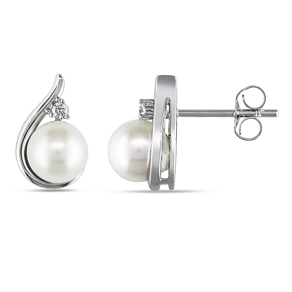 Miadora 14k White Gold Cultured Freshwater Pearl and Diamond Accent Stud Earrings (6-6.5 mm)