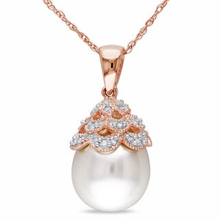 Miadora 10k Rose Gold White Pearl and Diamond Drop Necklace (10-10.5 mm)