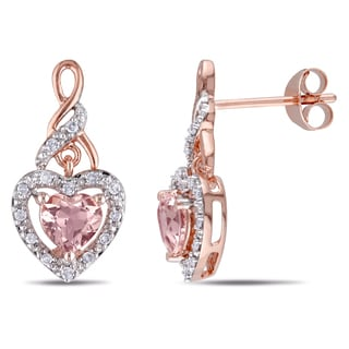Miadora Rose Plated Silver Morganite and 1/8ct TDW Diamond Heart Earrings (H-I, I2-I3)