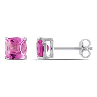 Miadora Sterling Silver Created Pink Sapphire Solitaire Earrings
