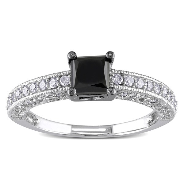 Miadora 10k White Gold 1ct TDW Black Diamond Ring 12983769