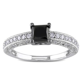 Miadora 10k White Gold 1ct TDW Black and White Diamond Engagement Ring (H-I, I2-I3)