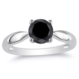 Miadora 10k White Gold 1 1/2ct TDW Black Diamond Solitaire Ring