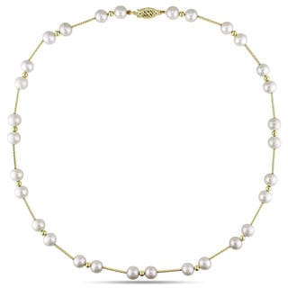 Miadora 14k Yellow Gold White Pearl Necklace (6.5-7 mm)