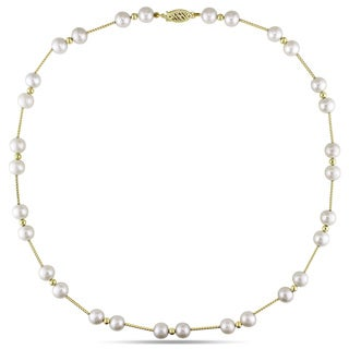 Miadora 14k Yellow Gold White Cultured Freshwater Pearl Necklace (6.5-7 mm)