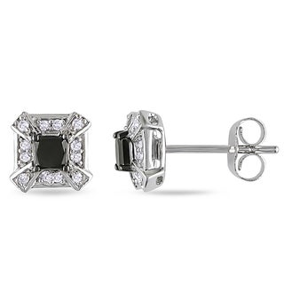 Miadora 10k White Gold 1/2ct TDW Black and White Diamond Stud Earrings (H-I, I2-I3)