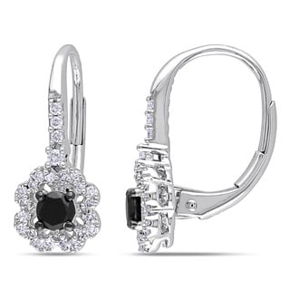 Miadora 10k White Gold 1/2ct TDW Black and White Diamond Flower Earrings (H-I, I2-I3)