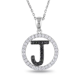 Miadora 14k White Gold 2/5ct TDW Black and White Diamond Initial Necklace (G-H, SI1-SI2)