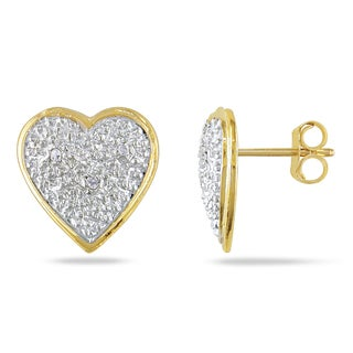 Miadora 14k Yellow Gold 1/10ct TDW Diamond Heart Earrings (J-K, I2-I3)