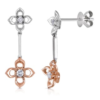 Miadora 14k Two-tone Gold 1/10ct TDW Diamond Flower Earrings (G-H, I1-I2)