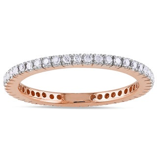 Miadora 14k Rose Gold 1/3ct TDW Diamond Eternity Ring