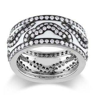 Miadora 14k White Gold 2ct TDW Black and White Enamel Diamond Ring