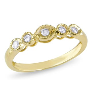 Miadora 10k Yellow Gold 1/6ct TDW Diamond 5-stone Anniversary Ring (H-I, I2-I3)