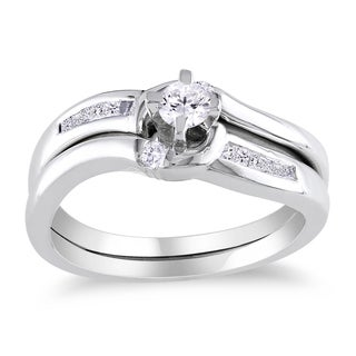 Miadora Sterling Silver 1/4ct TDW Diamond Bridal Ring Set (H-I, I2-I3) with Bonus Earrings
