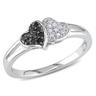 M by Miadora Sterling Silver Black and White Diamond Heart Ring