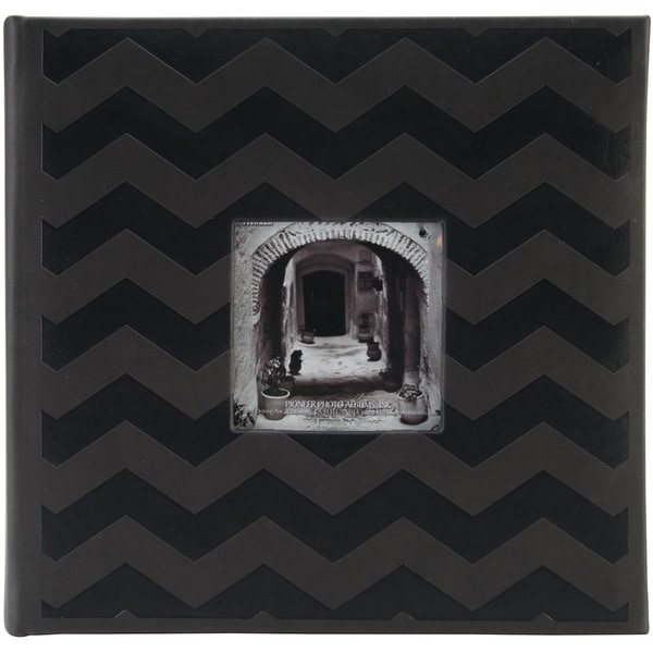 "Embossed 2-Up Photo Album 4""X6"" 200 Pockets-Black Chevron"