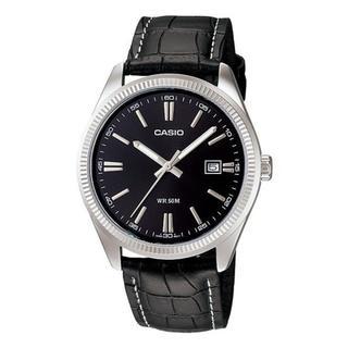 Casio Men's MTP1302L-1A Classic Black Leather Watch