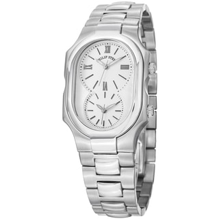 Philip Stein Women's 2-NCW-SS3 'Signature' White Dial Stainless Steel Dual Time Watch