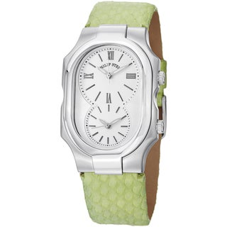 Philip Stein Women's 2-NCW-SMLG 'Signature' White Dial Green Leather Strap Dual Time Watch