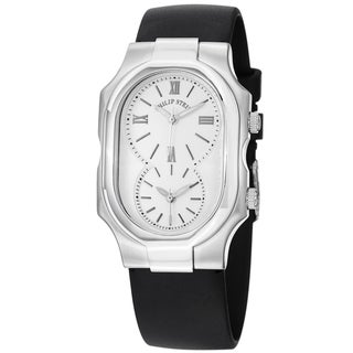 Philip Stein Women's 2-NCW-RB 'Signature' White Dial Black Rubber Strap Dual Time Watch