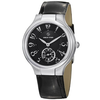 Philip Stein Women's 41-FB-ABS 'Novelties' Black Dial Black Leather Strap Watch