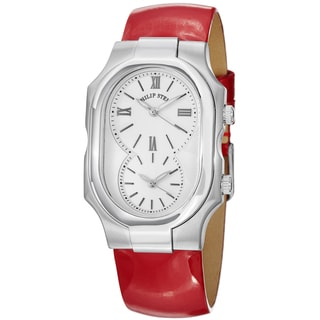 Philip Stein Women's 2-NCW-LR 'Signature' White Dial Red Leather Strap Dual Time Watch