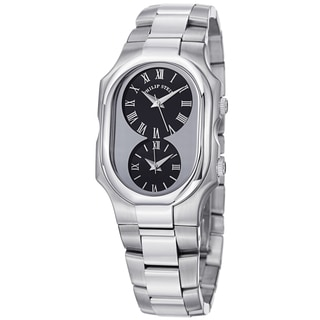 Philip Stein Women's 2-G-CB-SS 'Signature' Black Dial Stainless Steel Dual Time Watch