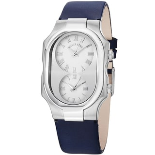 Philip Stein Women's 2-G-CW-CIN 'Signature' White Dial Blue Leather Dual Time Strap Watch