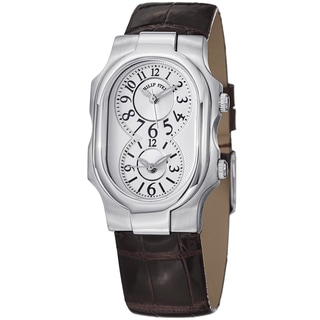 Philip Stein Women's 1-NFW-ACHS 'Signature' White Dial Brown Strap Dual Time Watch