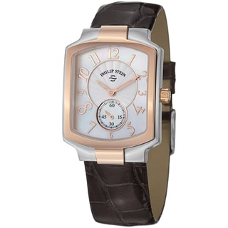 Philip Stein Women's 21TRG-FW-ACHS 'Signature Classic' Brown Strap Two Tone Watch